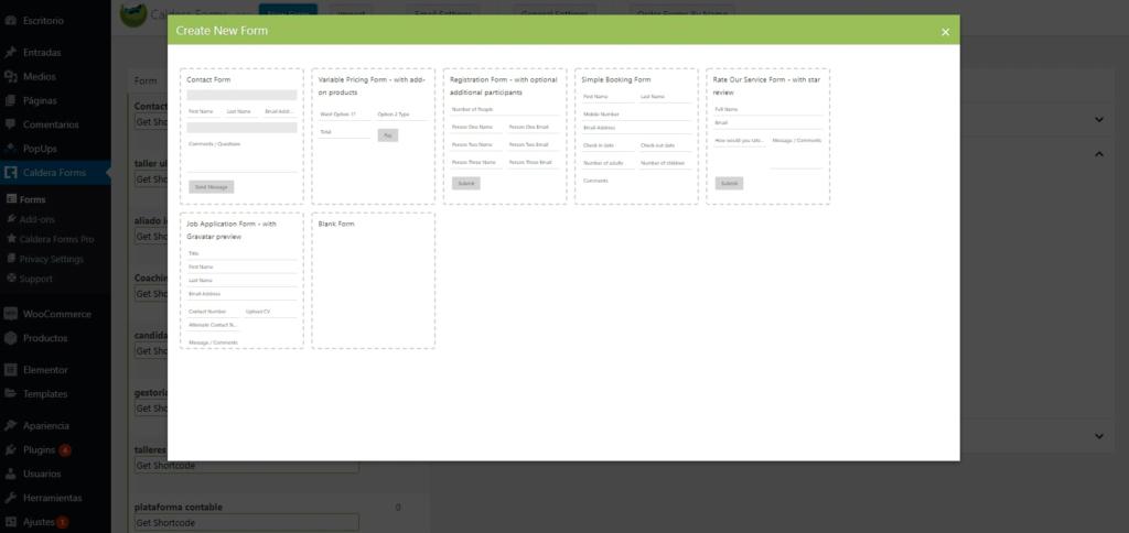 Crear formulario en caldera forms en español