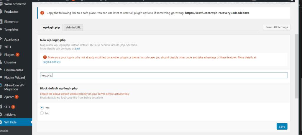 Instalar Wp Hide en WordPress