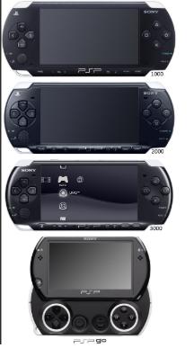diferentes versiones de las consolas de videojuegos portatiles de la psp
