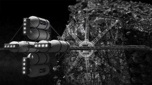 Estación llevando un asteroide en el futuro